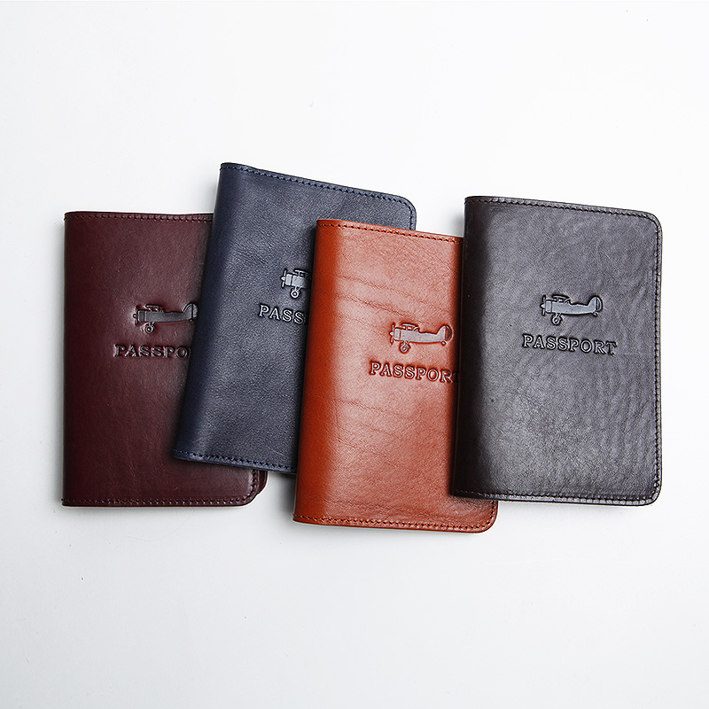 LANSPACE Men's Leather Passport Case Handmade Coin Purses Holders Famous Brand Passport Cover