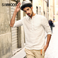 2016 New Arrival Homens Simwood Roupas de Marca Camisa de Moda Casual Slim Fit Plaid Branco Plus Size Frete Grátis CS1529
