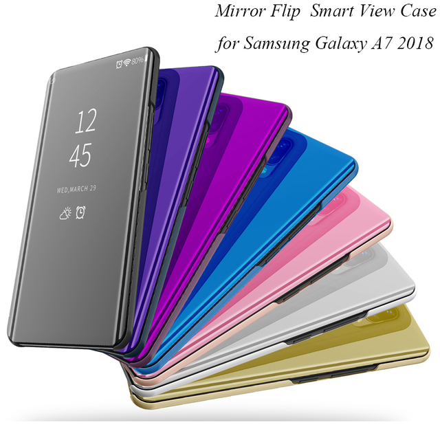 sale retailer 27a72 1971c US $9.98 |Mirror Flip Case For Samsung Galaxy A7 2018 A750 Luxury Clear  View PU Leather Cover For Samsung Galaxy A7 2018 Smart phone Case-in Fitted  ...