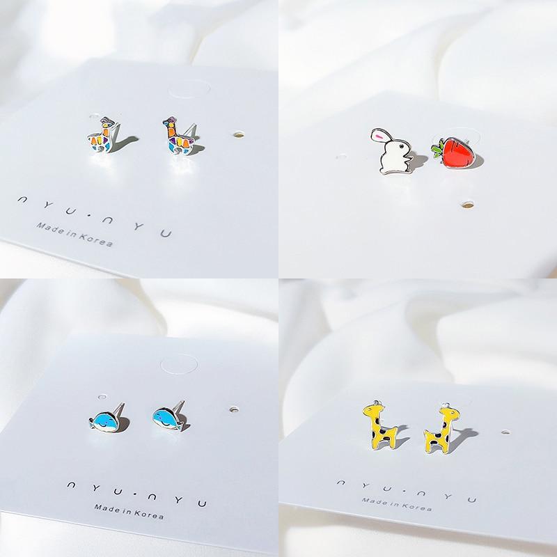 Small Animal Cute Rabbit Giraffe 925 Sterling Silver Stud Earrings For Girls Fashion Jewelry Gift For Women Oorbellen