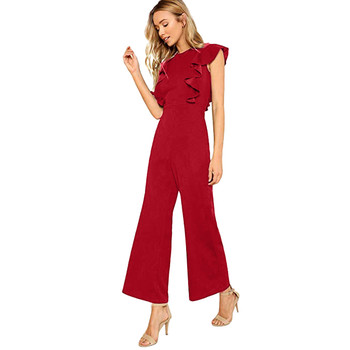 Women Sexy Casual Sleeveless Ruffles Trim Wide Leg High Waist Long Jumpsuit Plus Size Rompers Beach Bodysuit Overalls For Ladies Jumpsuits