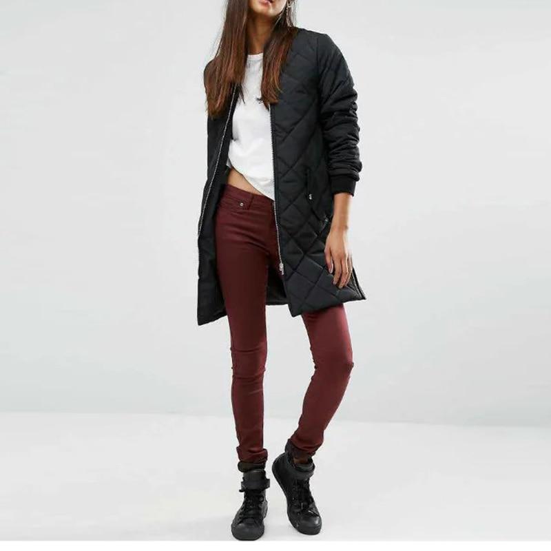 Women Long Coat Winter Quilted Cotton Jacket Long Baseball Jacket Women Black Coat 2016 Ladies Outwear LT8390