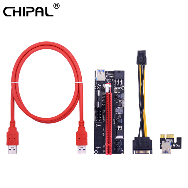 CHIPAL двойной светодиодный 100 см 009 S PCI-E Riser Card 009 PCI Express PCIE 1X 16X Кабель USB 3,0 4Pin 6Pin Мощность для добычи Bitcoin шахтер