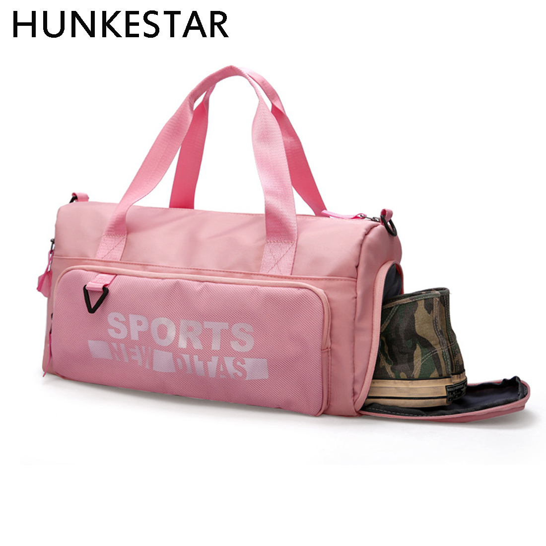 2c844e8118 Pink Black Women Bag Brand Fashion Lady Gym Bags for Fitness Training Yoga  Outdoor Sport with Separate Space Shoes sac de sport