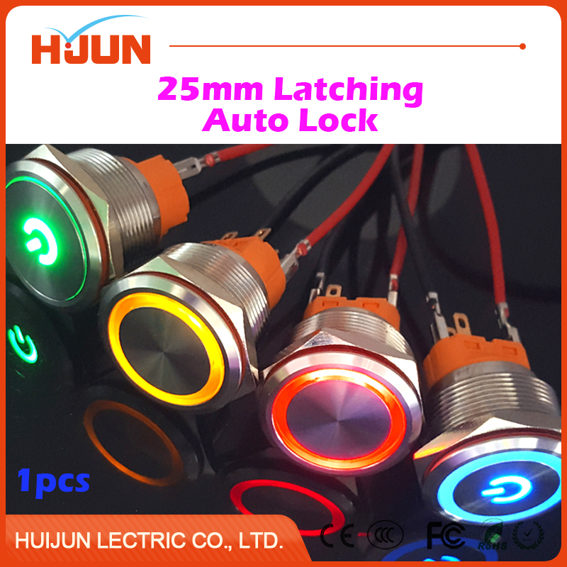 1pcs 25mm Waterproof Latching Stainless Steel Metal Push Button Switch Colorful LED Light Shine Car Horn Auto Lock 1 x 16mm od led ring illuminated latching push button switch 2no 2nc