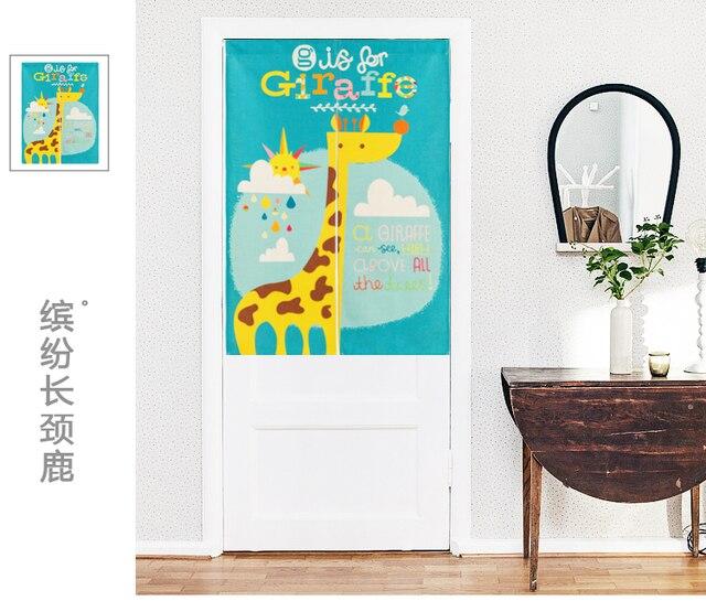 Japan Stil Cartoon Kinder Baumwolle Giraffe Tur Vorhang Dekoration Hangen Schlafzimmer Wohnzimmer Kuche Home Bar Kaffeehaus
