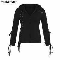 2018 Gothic Punk Women Hoodies Lace up Hooded Long Sleeve Casual Harajuku Darkness Autumn winter Goth Black Sweatshirt Plus Size