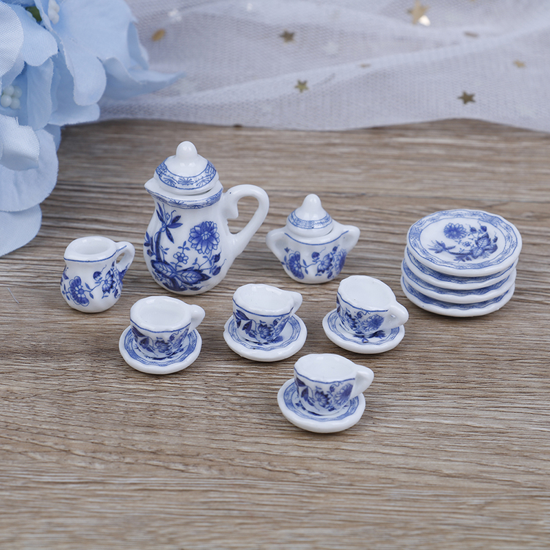 15Pcs/set Flower Patten Porcelain Coffee Tea Cups Ceramic Tableware Scale 1/12 Miniature Kitchen Accessories