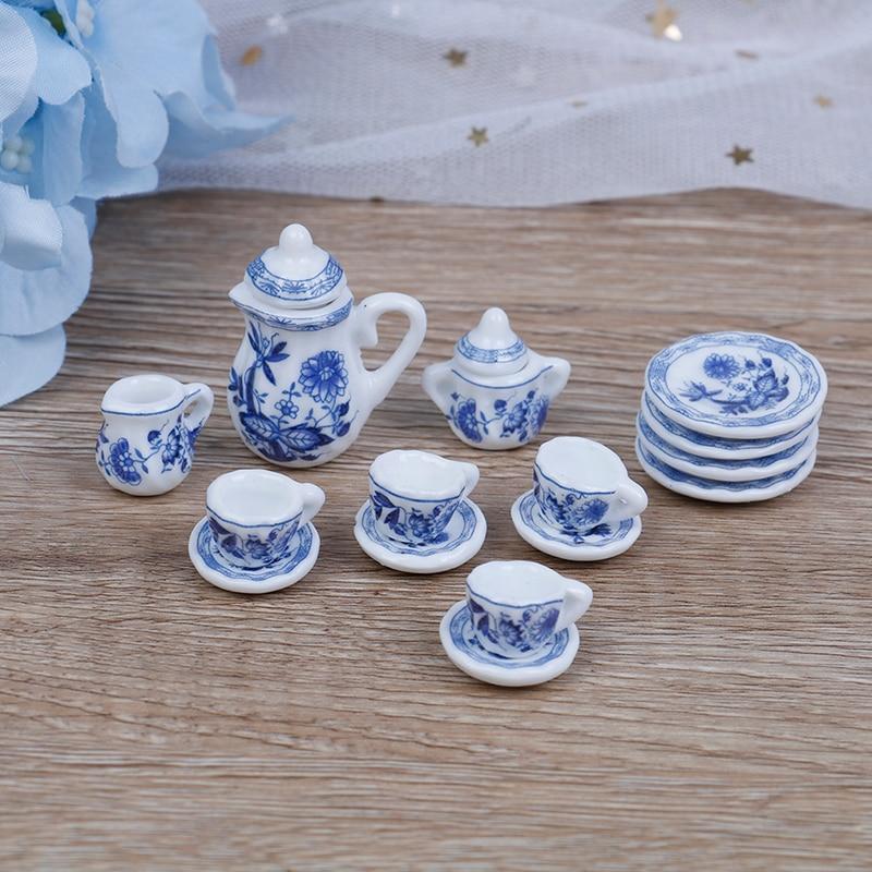 15Pcs/set Flower Patten Porcelain Coffee Tea Cups Ceramic Tableware Scale 1/12 Miniature Kitchen Accessories