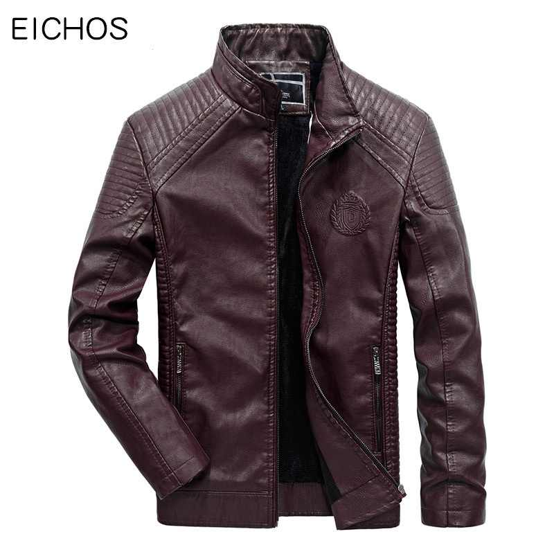 EICHOS 2017 New Stand Callor Motorcycle Jacket Men Fashion Print Mens Winter Leather Jackets Casual Motorcycle Outwear Plus 6xl