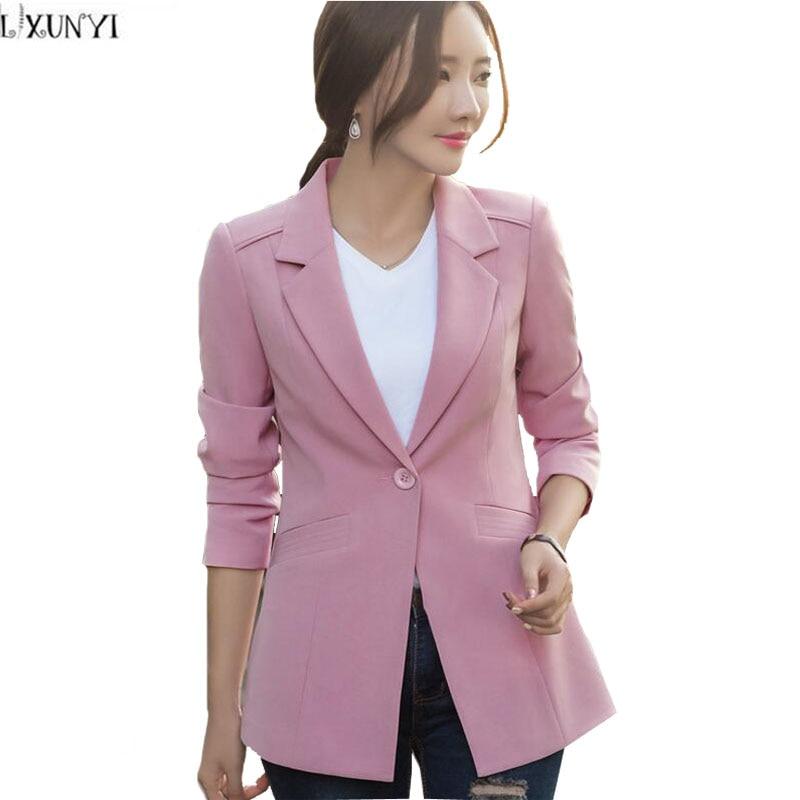 LXUNYI Long Sleeve Blazer Female Plus Size 2017Autumn New Korean One Button Slim Office Women Blazers And jackets Casual Coat