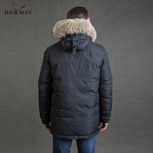 Image 5 - HERMZI abrigo largo de invierno para hombre, chaqueta gruesa de invierno, Parka, capucha con cuello de pelo de talla grande 4XL, 2020