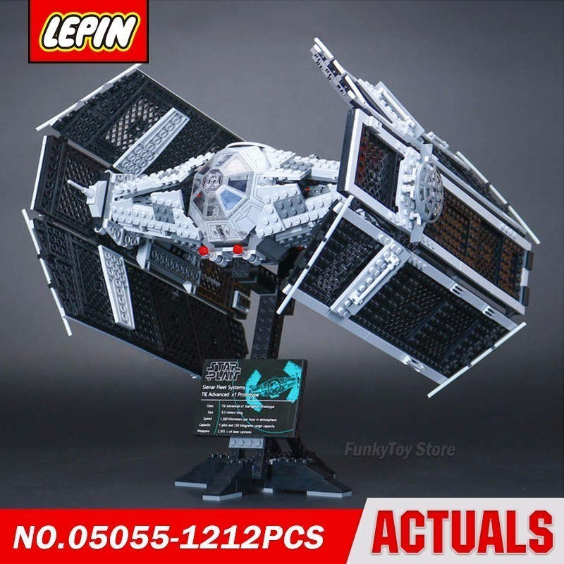 Lepin 05055 Usc Vader Tie Fighter 10175 Star Series Wars Model Building Block Brick Kits Assembling Gift dhl lepin 05055 star series military war the rogue one usc vader tie advanced fighter compatible 10175 building bricks block toy