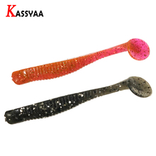 KASSYAA Soft Fishing Lure T Paddle Tail Worms Crank Baits Shad 8pcs 80mm 3g Artificial Fish Rubber Carp Wobblers Bait Bass Pike
