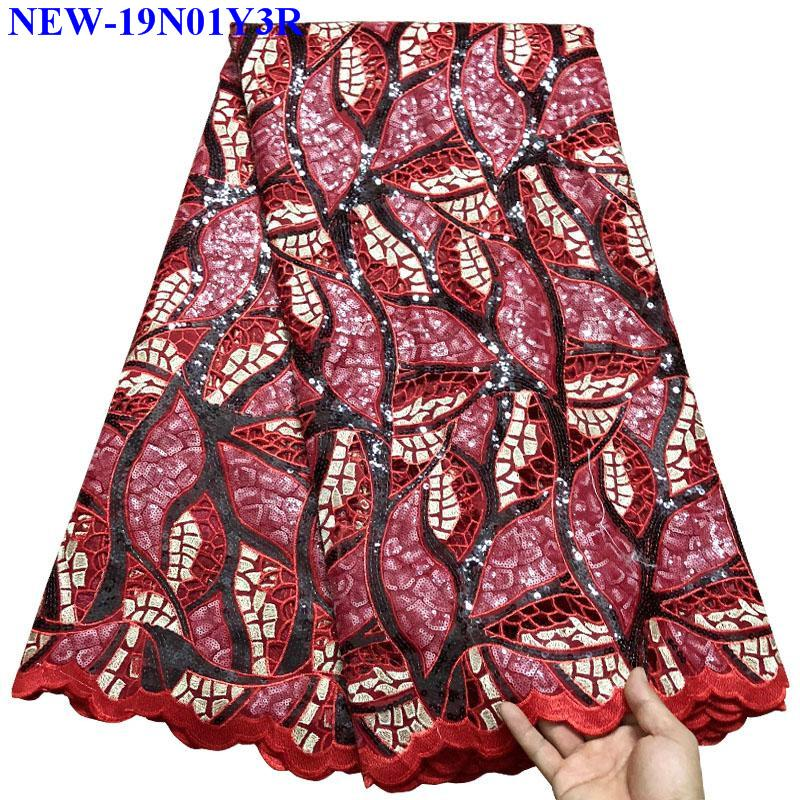 2019 Best Selling Nigerian embroidered Organza Lace Fabric High Quality sequins African french tulle lace fabrics
