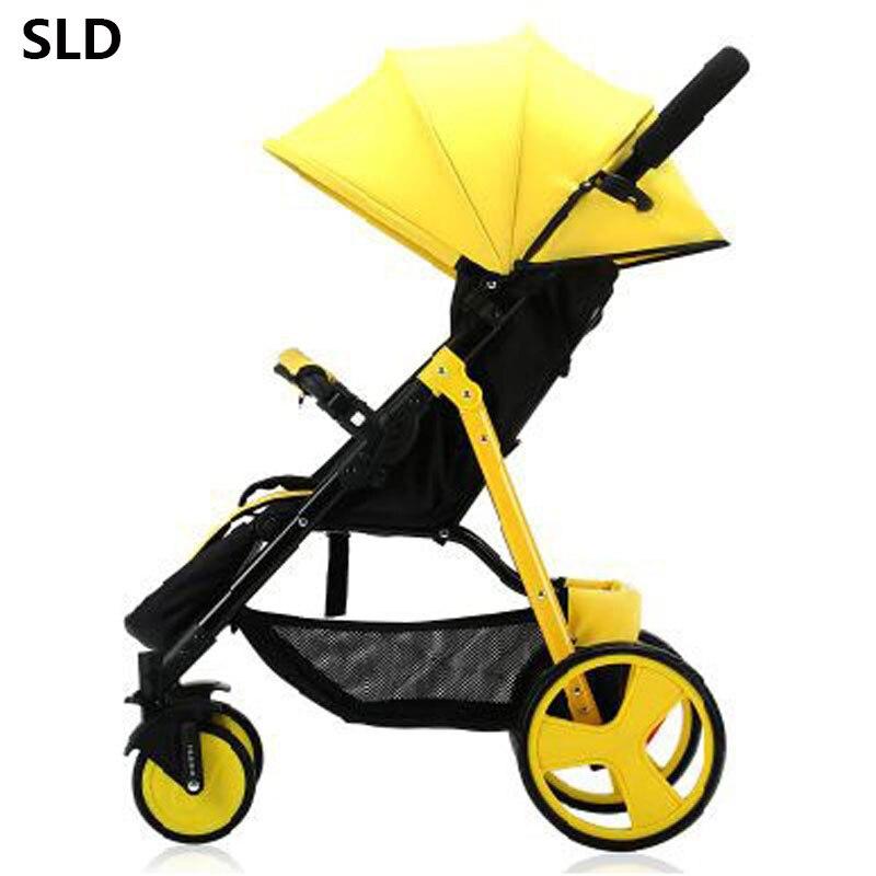 SLD bébé poussette conception scientifique se plie facilement et commodément 0-3 ans 7 kg charge utile 25 kg. cadre en acier EVA roues