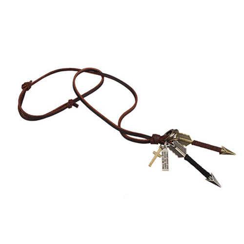 Thời trang của Nam Giới Hợp Kim Silver Gold Tone Mũi Tên Pendant Da Choker Charm Necklace