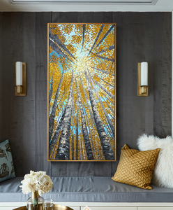 Image 2 - Large Vertical modern painting decorative pictures abstract art acrylic landscape painting canvas pictures for living room wall