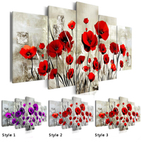 5PCS Set Red Pruple Poppy Flower Art Print Frameless Canvas Painting Wall Picture Home Decoration Choose