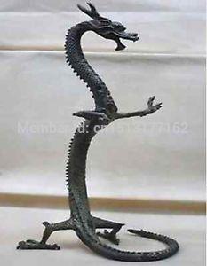 10 pouces 24 cm exquis bronze chinois dragon statue Figures hauteur Bronze outils de cuisson allume-cigare