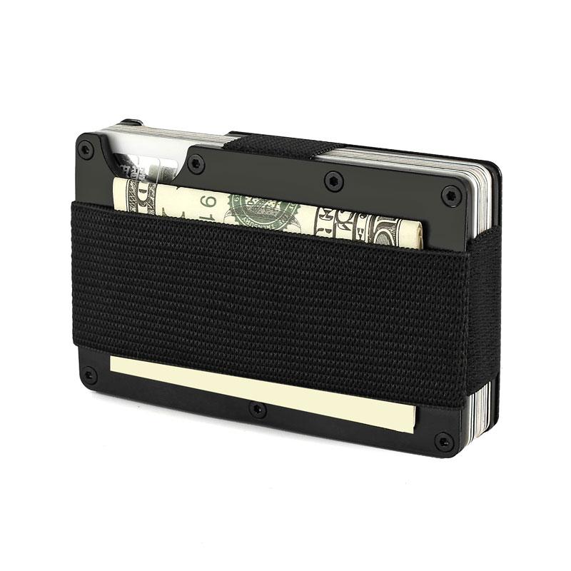 Aluminium Card Holder Metal Rfid Nfc Travel Slim Wallet Business Credit Card Holder with Elastic Money Band Purse Porte Carte