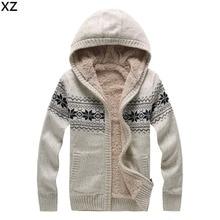 Men Thick Fleece Winter Sweaters 2016 New Designer Brand Snow Warm Fashion Long Sleeve Knitwear Cardigans Sweaters
