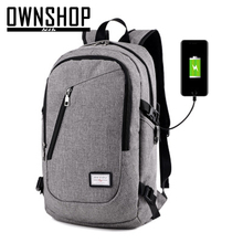 Ownshop back сотового pack зарядки школа серый унисекс холст телефона рюкзак