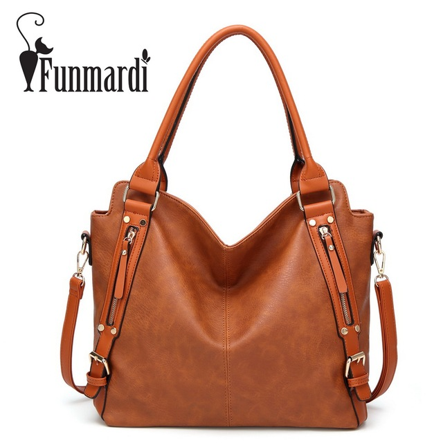 Funmardi Retro Washed Leather Handbags New Fashion Women S Bag Simple Brand Design Shoulder Female Famous