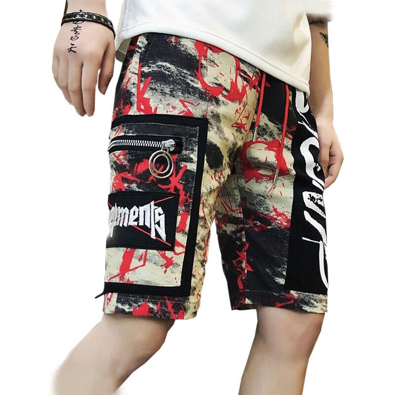 2019 Full Printed Mens Summer Shorts Casual Streetwear Beach Shorts Male Elastic Hip Hop Knee Length Shorts Drop Shipping ABZ306