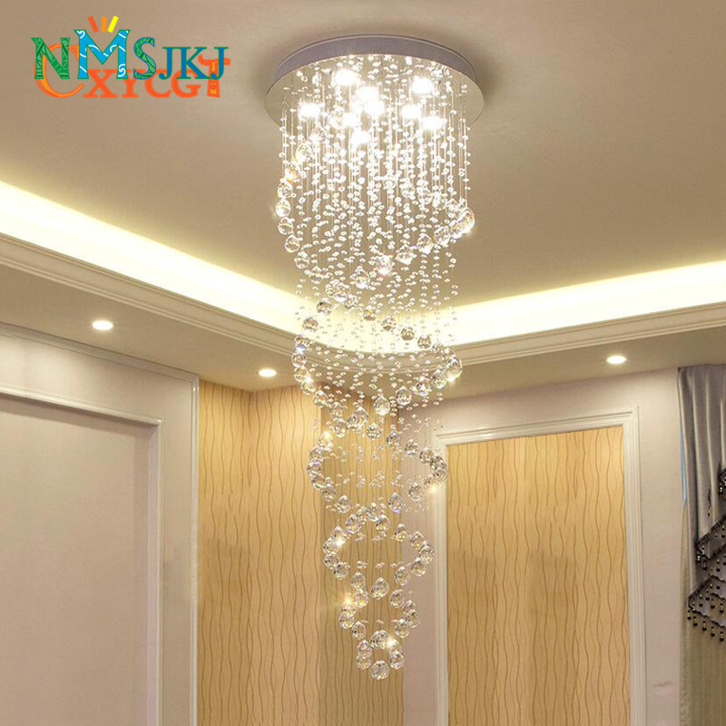 Modern LED Double Spiral Crystal Chandelier Lighting for Foyer Stair Staircase Bedroom Hotel HallCeiling Hanging Suspension LampModern LED Double Spiral Crystal Chandelier Lighting for Foyer Stair Staircase Bedroom Hotel HallCeiling Hanging Suspension Lamp