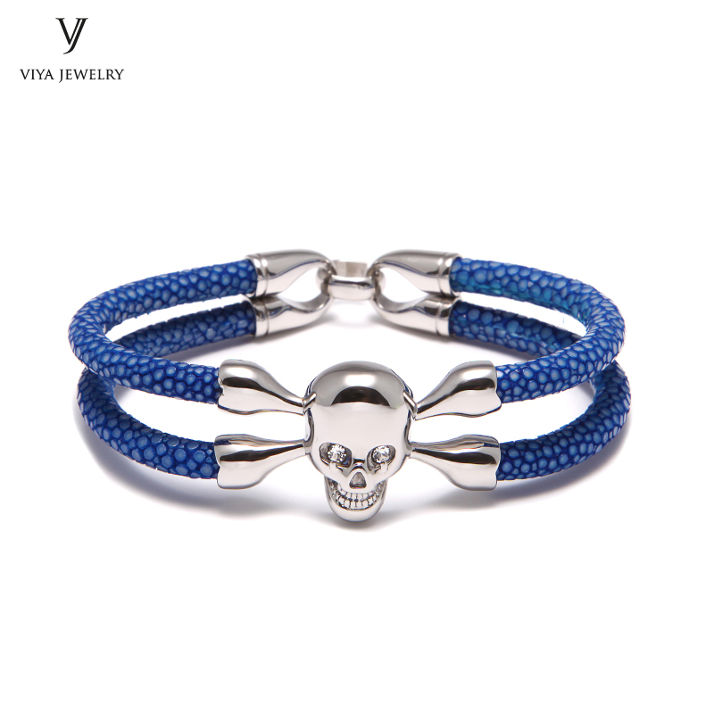 High Quality Skull Bracelet Blue Ocean European Charm Bracelet Men Fashion Friendship Gift Stingray Bracelet With Skull For Men chic skull shape bracelet for men