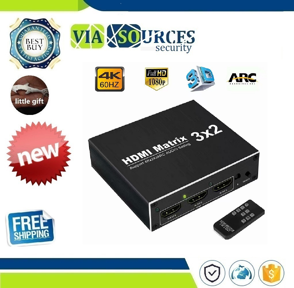 HDMI Matrix 3X2 Hdmi Splitter 4K 60Hz HDCP1.4 Ultra HD 1080P witch Optical TOSLINK&R/L 3.5mm Audio Extractor Supports ARCHDMI Matrix 3X2 Hdmi Splitter 4K 60Hz HDCP1.4 Ultra HD 1080P witch Optical TOSLINK&R/L 3.5mm Audio Extractor Supports ARC