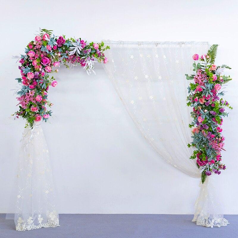 Металл Кованое железо стенд Арка + искусственная композиция из шелковых цветов белая ткань набор Декор вечерние свадебные фон цветочный ряд 1 комплект - 2