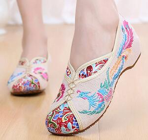 Flats Canvas Woman New Spring Color Sets High-embroidered Shoes Comfortable Feet Beijing Style Tendon Dancing Female Single Shoe  цены