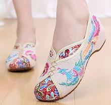 Flats Canvas Woman New Spring Color Sets High-embroidered Shoes Comfortable Feet Beijing Style Tendon Dancing Female Single Shoe