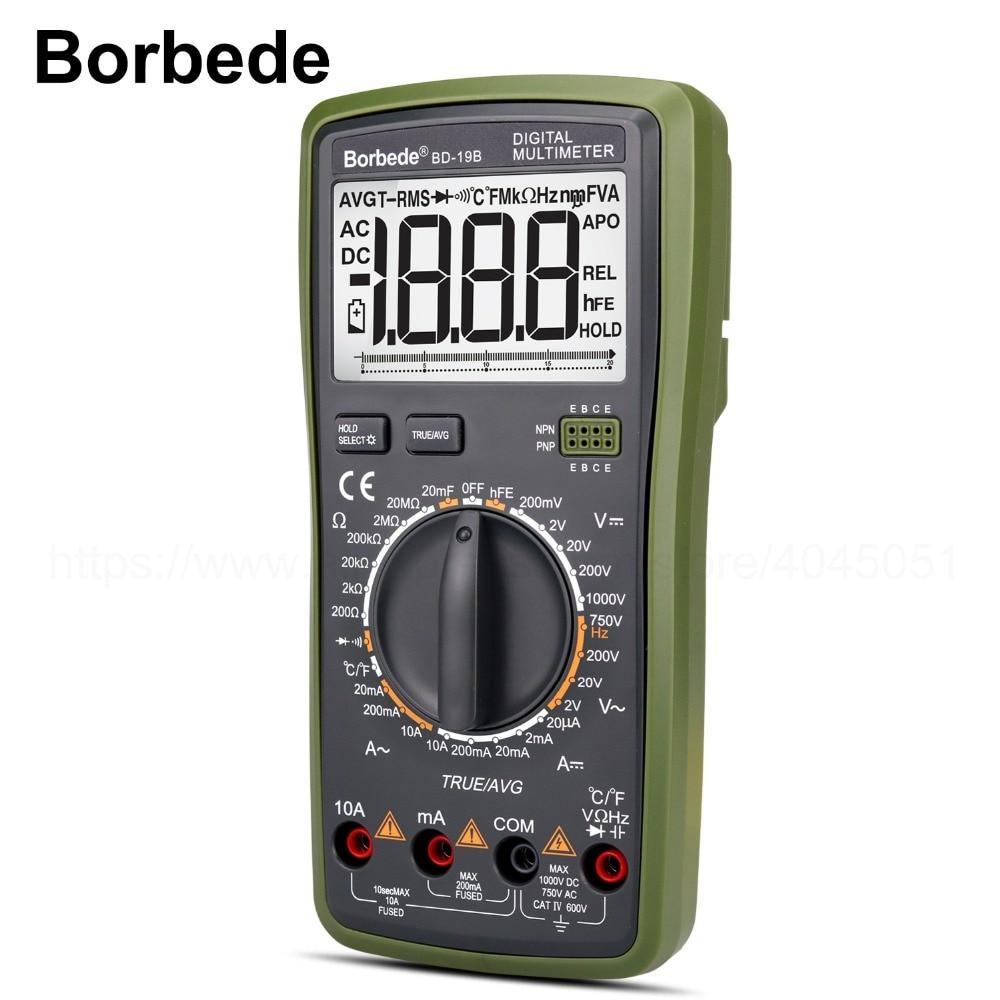 все цены на Borbede BD-19B Digital Multimeter LCD DC AC Voltage Current Resistance Capacitance Temperature True RMS Diode Tester 2000 Counts онлайн