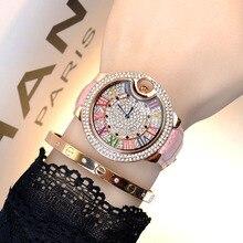 Mashali montre strass multicolore en cuir pour femmes, chiffres romains, cristal diamant, plein diamant, montres en cuir véritable