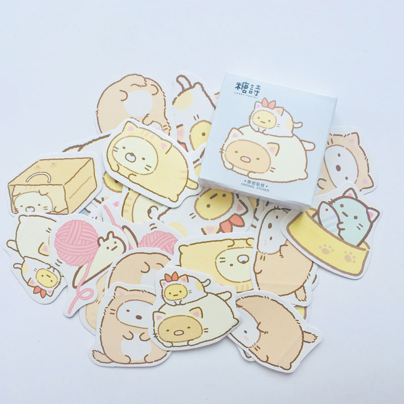 45 Pcs /Box Cute Cartoon Decorative Stickers Notebook Computer Decor