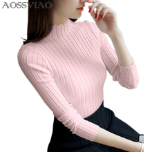 AOSSVIAO 2019 Spring Sweater Women Knitted Long Sleeve Ladies Pullover Female Pink White Winter Tops Tricot Jumper Pull Femme