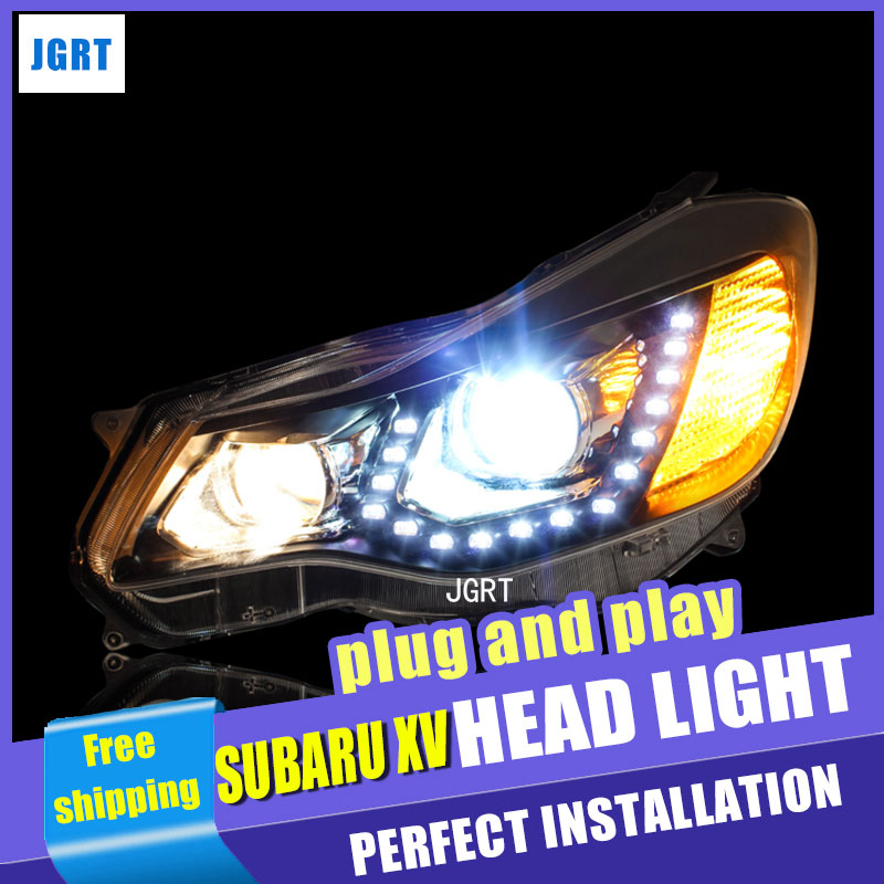 Car Styling For Subaru XV headlights 2012-2015 For XV LED head lamp Angel eye led DRL front light Bi-Xenon Lens xenon HID car styling 2pcs set abs steering wheel sequins cover for subaru xv 2012 2015 trim decoration
