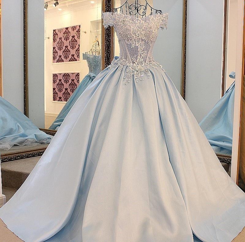Real Sample2016 Light Blue Satin Long Formal Evening Gowns Robe De ...