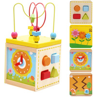 Baby Learning Education Wooden Multi Function Treasure Box Bead Wire Maze Roller Coaster Toys Set For