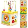 Bebê Aprendizado & Educação Multi-função de Caixa de Tesouro De Madeira Bead Labirinto Fio Roller Coaster Set Brinquedos Para Crianças dos miúdos