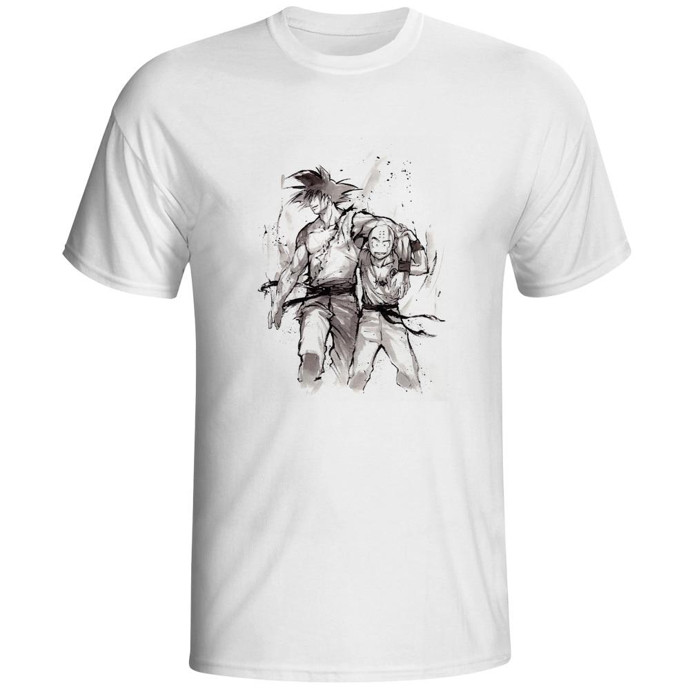 [EATGE] Hand Drawn Watercolor T Shirt Son Goku Kuririn Friendship T-shirt Dragon Ball Z Tshirt Cool Printed Unisex Tee