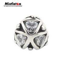 Mistletoe Jewelry Genuine 925 Sterling Silver Crystal Triangles Charm Bead Fits European Troll 3.0mm Bracelet & Necklace