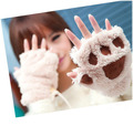 free shipping Fluffy Bear/Cat Plush Paw/Claw Glove-Novelty Halloween soft toweling lady's half covered gloves mittens
