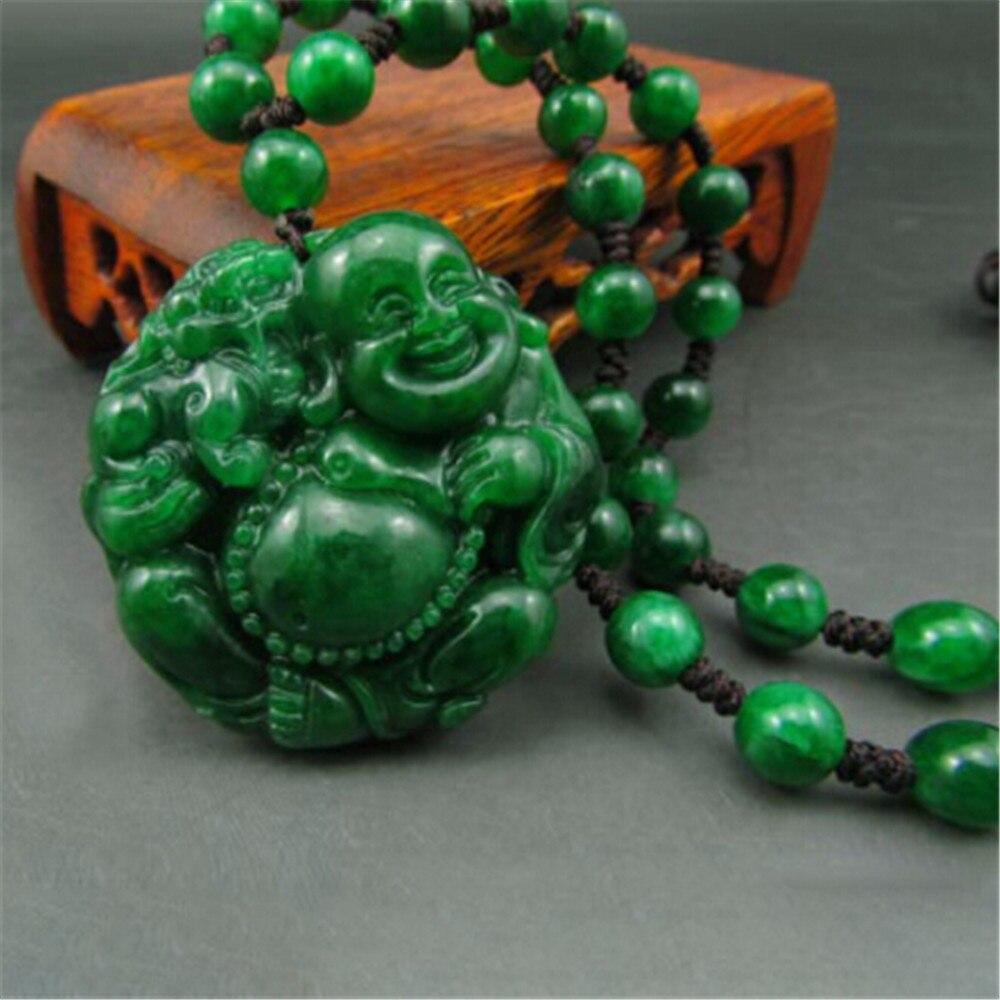 Image 2 - Handmade Natural Jadeite Maitreya Buddha Jade Pendant Genuine Dried Green Iron Dragon laughing Buddha Pendant Necklace Wholesale-in Pendants from Jewelry & Accessories