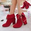 Плюс размер 32-43 женщин высокого качества красный высокий каблук мартин сапоги с боковой zip подросток девушка замшевые сапоги botas femininas