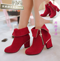 plus size 32 to 43 women high quality red high heel martin boot with side zip teenager girl suede casual boots botas femininas