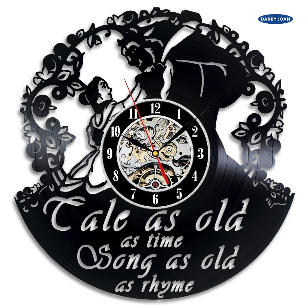 online buy wholesale clock home interior from china clock home beauty and the beast wall art vinyl record clock home decor interior design china